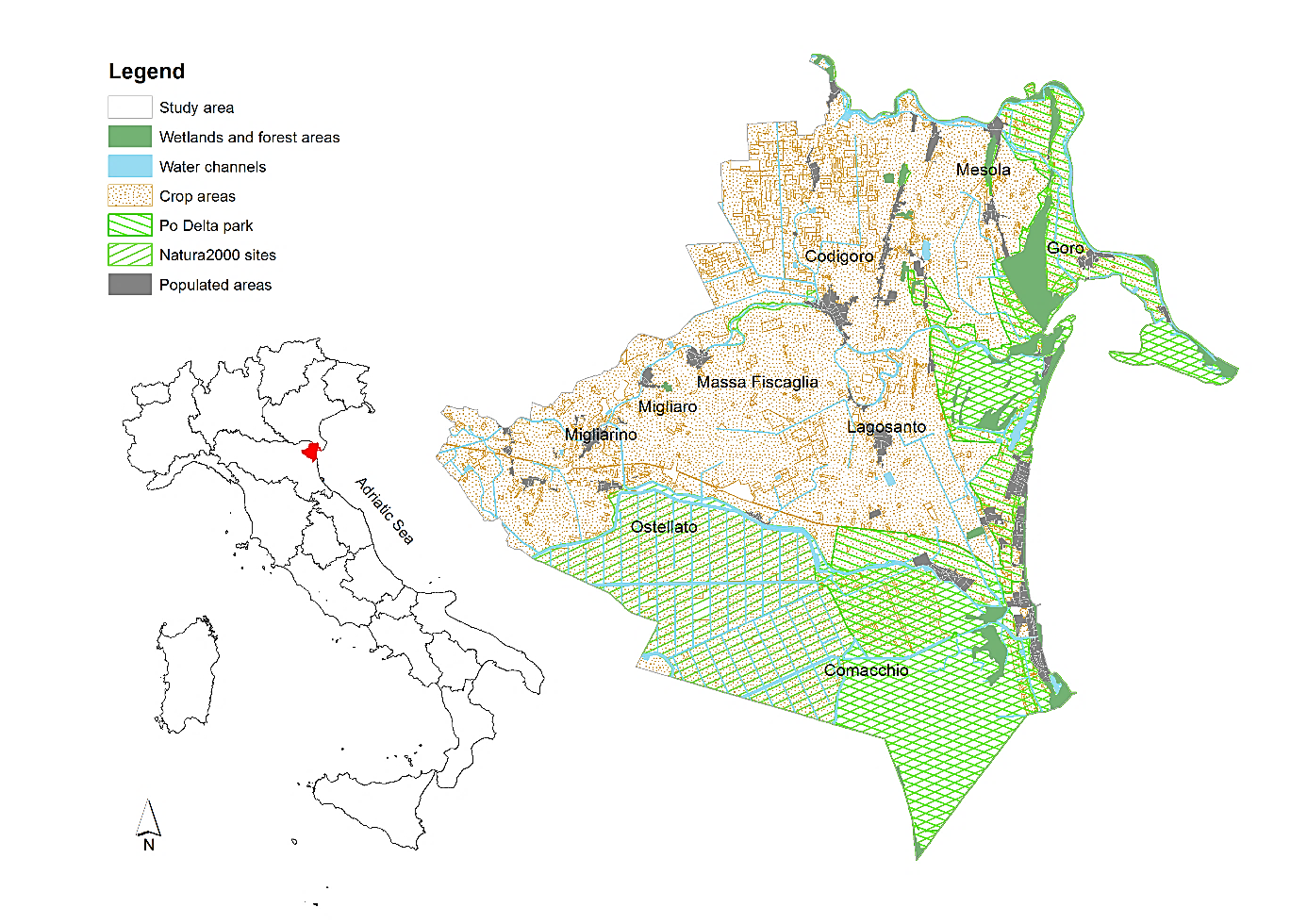 Location and main landscape composition of the eastern lowlands of Ferrara, northeast Emilia-Romagna