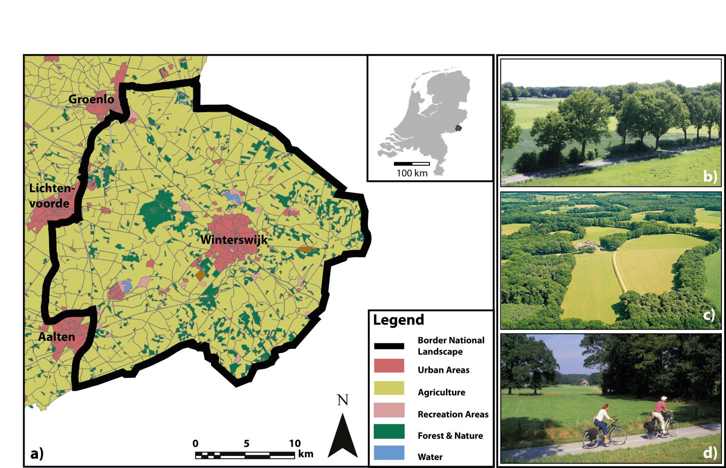 a land use map a) and a number of photo's (b, c and d) that are representative for the agricultural landscape in the case study area.